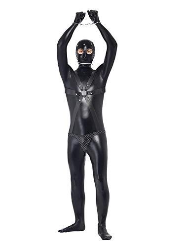 Kostüm Sexy Stripper Männlichen - WNRLL Herren Bekleidung Strumpfhosen Jumpsuits Lackleder aus Bodysuit Cosplay männliches Performance Häftlingskostüm Handschellen Maske enthalten,L