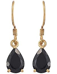 01b8798dc TJC Black Tourmaline Drop Dangle Earrings for Women In 14ct Gold Plated  Sterling Silver