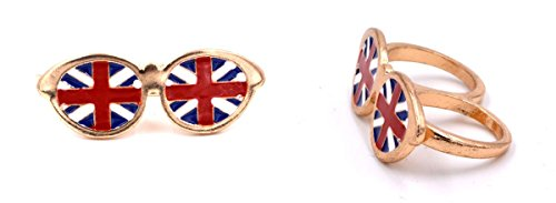 Union Jack Sonnenbrille Design Quirky Fashion Double Barrel Ring in Antik Gold (in Organza Tasche)