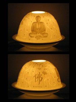 Photophore en porcelaine pour bougie chauffe-plat Zen, hauteur 7, 8 cm Ø 11, 5 cm, porcelaine, livré dans un superbe emballage cadeau