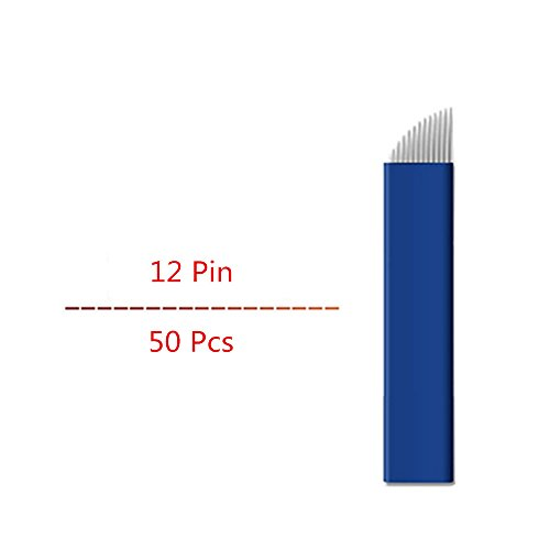 Pinkiou 12 Pin Microblading Klingen Augenbrauen Tattoo Nadeln für Permanent Make-up (50 Stück) -