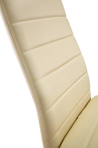 4 st ck esszimmerst hle k chenst hle mit hochwertigem kunstlederpolster schwarz beige wei. Black Bedroom Furniture Sets. Home Design Ideas