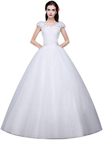Eyekepper Robe de mariee robes mariage elegant robe nuptiale femmes elegante robe de mariee robe de dentelle fond-blanc