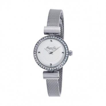 Kenneth Cole 10022303–Orologio con cinturino in acciaio per donna, colore: bianco/grigio