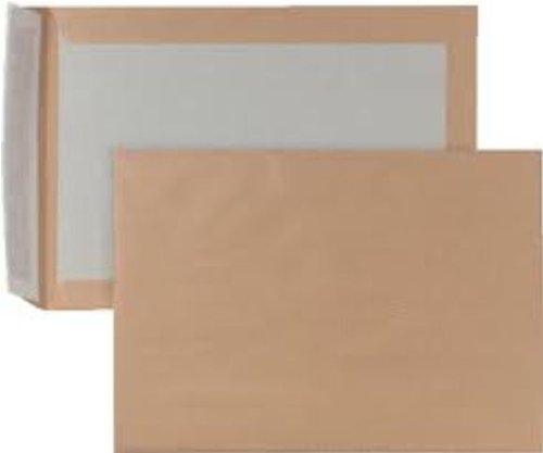 Preisvergleich Produktbild 125 Qualitäts- Papprückwand Versandtaschen Briefumschläge DIN C4 ( 229 x 324 mm ) braun mit Papprückwand und Haftklebung OHNE Fenster 110g