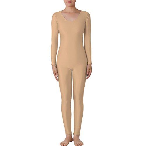 itt Lange Ärmel Unitard Lycra Zentai Bodysuit Catsuit Dancewear Gr. 38, DARKNUDE (Beste Gruppe Halloween-kostüme Für Erwachsene)