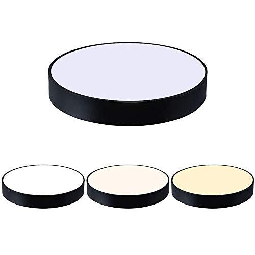Lzpff 72 W stufenloses Dimmen Deckenleuchte Runde LED-Decken Moderne einfache Art-Acryl-Material Schwarz 50 cm for Wohnzimmer Schlafzimmer Esszimmer Single Pack -