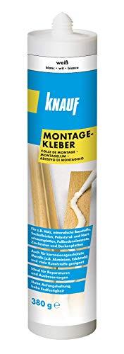 Knauf Montage-Kleber 380 g Kartusche – Power-Kleber, Kraft-Klebstoff, lösemittelfrei, verarbeitungsfertig und geruchslos nach Aushärtung, hohe Haftfestigkeit auf unterschiedlichen Untergründen
