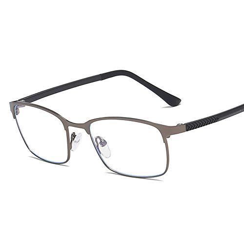 Gläser Anti Blu Ray Plain Retro Brille Square Business Frame TR90 Tempel Metall Gläser Brillen (Color : Dark Sliver, Size : Kostenlos)