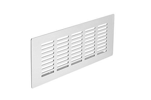 Gedotec Lüftungsgitter für Küche Lochblech Alu Tür-Gitter Alu rechteckig | H6015 | 225 x 80 mm | Höhe 15 mm | Lamellengitter Aluminium natur eloxiert mit gerillten Stegen | 1 Stück