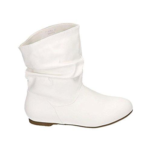 Damen Stiefeletten Cowboy Western Stiefel Boots Flache Schlupfstiefel Schuhe 89 Weiß
