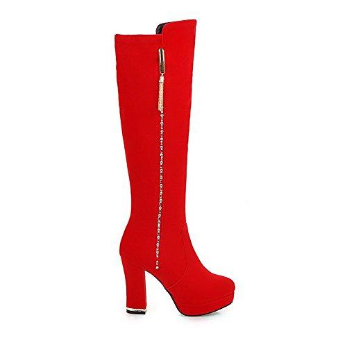 VogueZone009 Donna Cerniera Punta Tonda Tacco Alto Alta Altezza Stivali Rosso