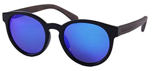 Bexxwell Sonnenbrille mit Echtholz-Bügeln, handgefertigt, UV-Schutz, polarisierend (Oval, rund, Holz, Wood) (Schwarz/Blau und Holz dunkel)