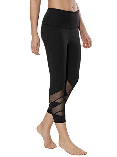 dh Garment Legging de Sport Femme Court Taille Haute avec Poche Patalon Yoga Zumba Fitness Gym Noir (Small)