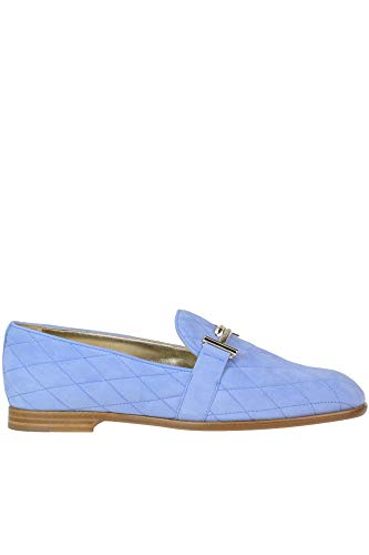 Tod's Quilted Suede Loafers Woman Light Blue 37 IT (Tods Schuhe)