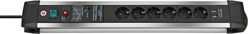 Brennenstuhl Premium-Protect-Line Steckdosenleiste 6-fach mit Schalter und Überspannungsschutz (3m Kabel, 2-fach USB 3,1 A, Made in Germany) silber/schwarz