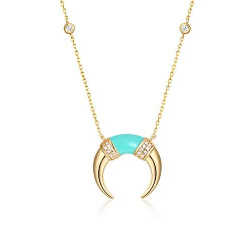 WANZIJING Gold Horn Halskette, Sterling Silber Doppelhorn Halskette Boho Crescent Moon Halskette mit Kristall für Mädchen -
