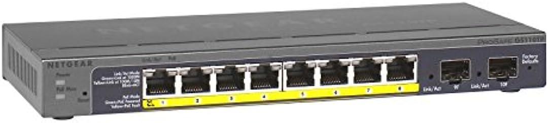 Netgear GS110TP-200EUS ProSAFE 8-Port Gigabit POE Smart Switch with 2 Gigabit Fiber SFP
