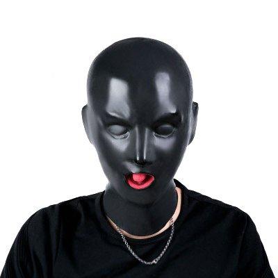 Raycity Latex Rubber Fetish Hood Maske mit Reißverschluss Loli Disguise Black-3D Female Heavy Rubber ()