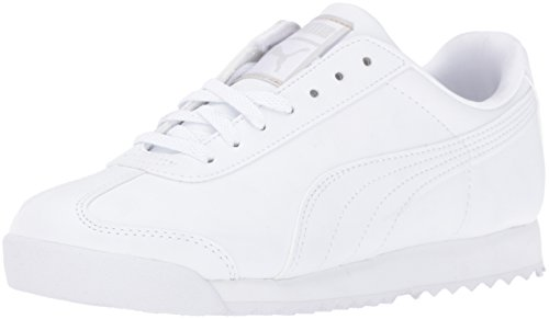 Puma Roma Basic Jr Sneaker (Little Kid/Big Kid), White/Light Gray, 7 M US Big Kid (Big School Kids Sneakers)