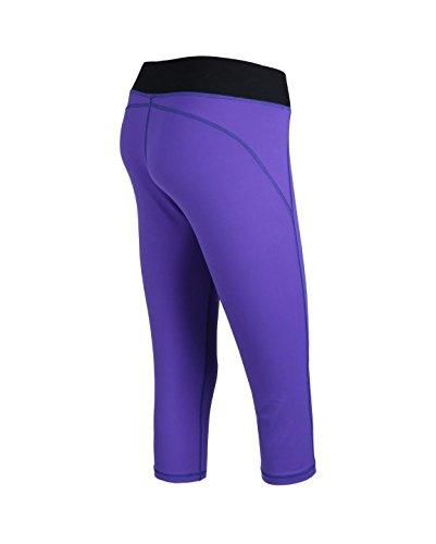 Femme Athlétisme Sport Smart 3/4Longueur Pantalon capri pour femme Mollet de compression Skins Jambières couche de base Purple/Black Waist