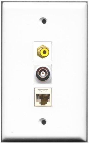 RiteAV-1Port RCA gelb und 1Port BNC und 1Port Cat6Ethernet weiß Wall Plate Decora Insert Flush