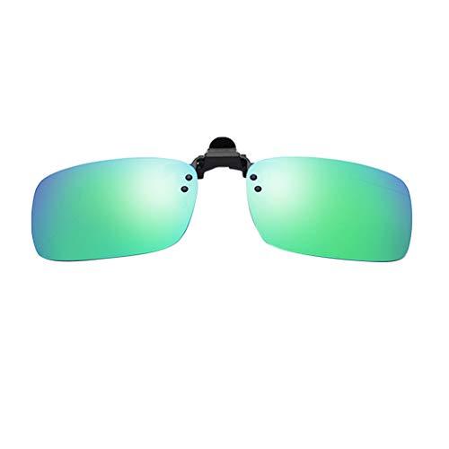Clacce Brille Clip, Sonnenbrille Aufsatz Clip on Polarisiert Flip up Sunglasses gegen Licht ideal für Nachtfahr Frauen Männer Unisex Brillenträger (Freie Größe, Minzgrün B)
