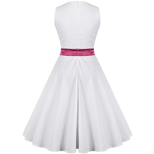 Dissa M127718D Robe de bal Vintage pin-up 50's Rockabilly robe de soirée cocktail,S-XXXXL Blanc