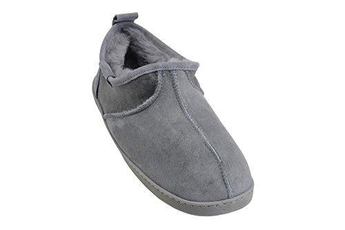 Lussuose Pantofole Unisex in Pelle di Pecora con Vera Pelliccia da Uomo o Donna Grigio