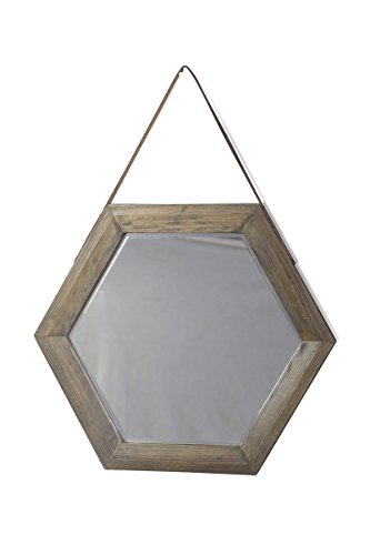 Keen-Replicas-Loiret-Espejo-hexagonal-de-madera-60-x-69-x-3-cm-color-marrn