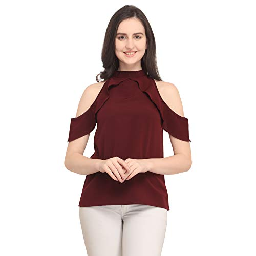 J B Fashion Women's Plain Regular Fit Top (Chain top-Maroon-M)