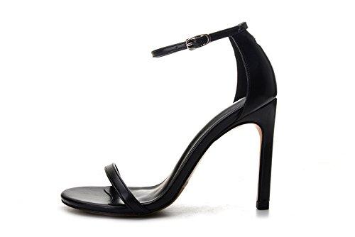 Hochhackige Sandalen_Schlitz Schnalle hochhackigen Sandalen mit dünnen fein mit Damen Schuhe schwarz Tau, schwarze Schafe Struktur der Haut [38], [mit Höhe 10 cm] (Schwarze Schafe Haut)