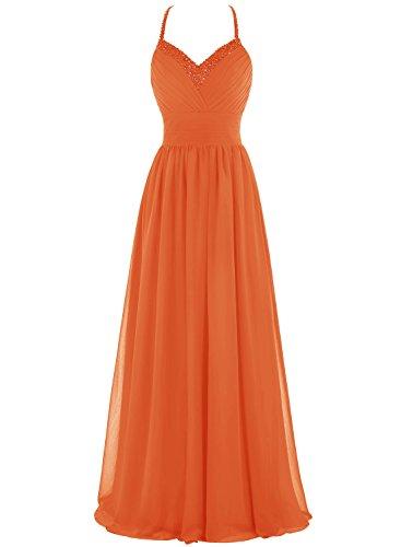 Bbonlinedress Robe de cérémonie et de demoiselle d'honneur plissée emperlée bretelles spaghetti longueur ras du sol en mousseline Orange