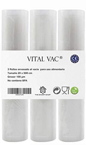 VITAL VAC 3Rotoli goffrati per Sacchetti di confezionatrice sottovuoto SilverCrest, JATA, cecotec. 20X500 cm