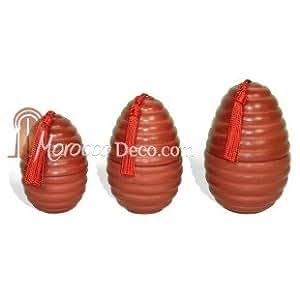 Bougies parfumés oeufs rainures en tadelakt - Lot de 3 tailles, Rouge brique - Ambre
