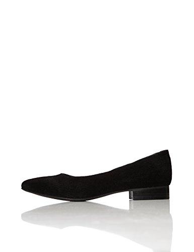 FIND Damen Spitz Zulaufende Ballerinas aus Veloursleder, Schwarz (Black), 39 EU (Leder-kleid-schuhe Halbschuhe)
