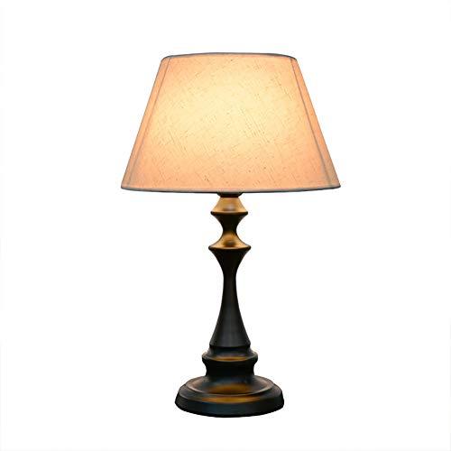Crh Praktische dekorative Nachttischlampe, weiße und bemalte Keramik Lampenfuß Tuch Tischlampe Tischlampe Nachttischlampe -