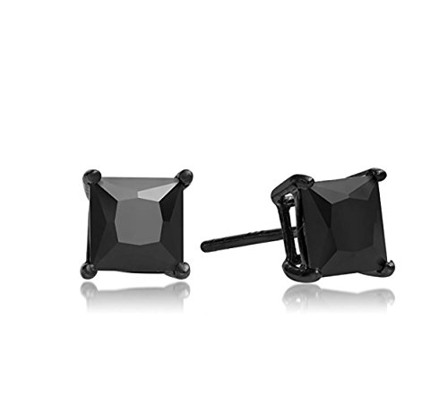 JEWELS Fashion Rvs 6 maten verkrijgbaar - Square Solitaire Sparkling black Crystal Diamond & Zwart gerhodineerd Unisex heren tapeinden (Karat Fake 3 Diamant-ring)