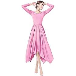 OBEEII Femmes Robe Liturgique Couleur Unie à Manches Longues Asymétrique Justaucorps de Gymnastique Robe de Ballet Classique Dance Combinaison Bodysuit Costume de Danse Rose L