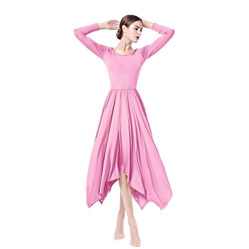 c539094006b7 OBEEII Donna Vestito Liturgico Manica Lunga Abito da Balletto Ginnastica  Body Classico Danza Combinazione Chiesa Preghiera