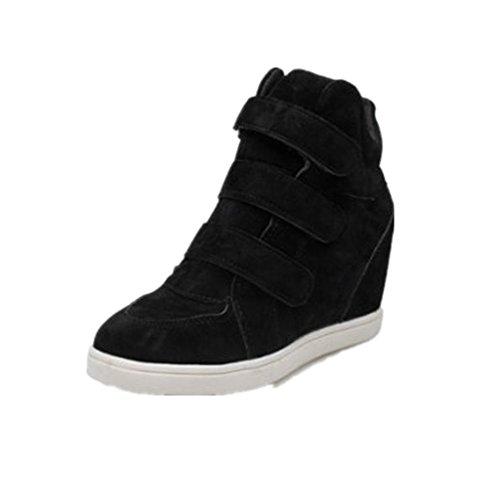 LuckyGirls Damen Sneakers Keilabsatz Schuhe Flock Wedge Sportschuhe Freizeitschuhe (34) (Schwarz-plattform Sneakers Canvas)