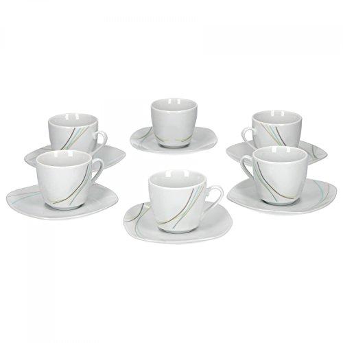 Van Well Aliha 6er Set Espressotasse + Untertasse, Espresso-Set, Liniendekor, edles Marken-Porzellan