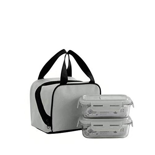 DYTJ-Lunchbox Bento Box Brotdose Lunchpaket, High Boron Glass Lunch Box, 3 Mahlzeiten Fertig Lunchbox Container (Farbe: Grau), Grau