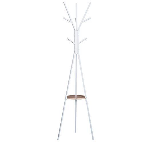 HOMCOM Garderobenständer Standgarderobe Kleiderständer Flurgarderobe Metall Weiß L45 x B45 x H180 cm