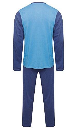 Herren Nachtwäsche PJ Pyjama Satz Lange Ärmel Schlafanzug Nacht Tragen 100% Baumwolle Marine Blau / Hellblau