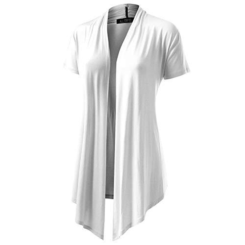 Honestyi Damen Soft Drape Cardigan Kurzarm Smock Sun Wear Bluse Tops Kleidung Damen Kurzarm einfarbig lässige Strickjacke Bluse(Weiß,M) - Schwarzes Jersey, Drape-Ärmel Top