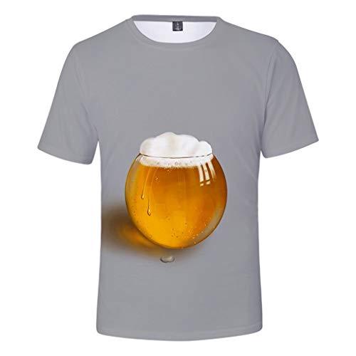 Chejarity Herren T-Shirt Mit 3D Print Shirt Kurzarmshirt Casual Basic O-Neck Top Bluse Sommer Comfort Lässige Wiesn Sweatshirt Freizeit Tops Oktoberfest Traditionelle Bekleidung (XL, Grau) Capri-jumper