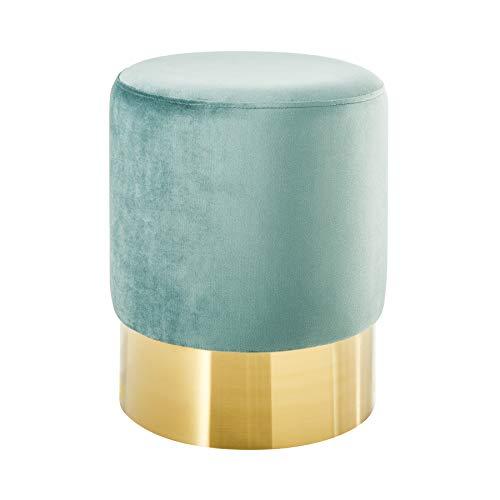 Riess Ambiente Eleganter Sitzhocker MODERN BAROCK SAMT Mint Couchtisch Fußhocker Hocker Samtstoff