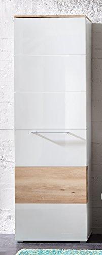 Stella Trading Reno Schrank, Garderobenschrank, MDF, Weiss/Abs. Buche, (B/H/T) 65 x 200 x 40 cm