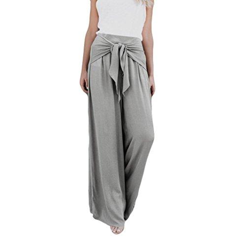 Lazzboy Damen Freizeit Einfarbig Mode Lose hohe Taille Breites Bein Bell Bottom Palazzo Flare Hose(Grau,36(M)) - Taille Hohe Bell-bottom-jeans